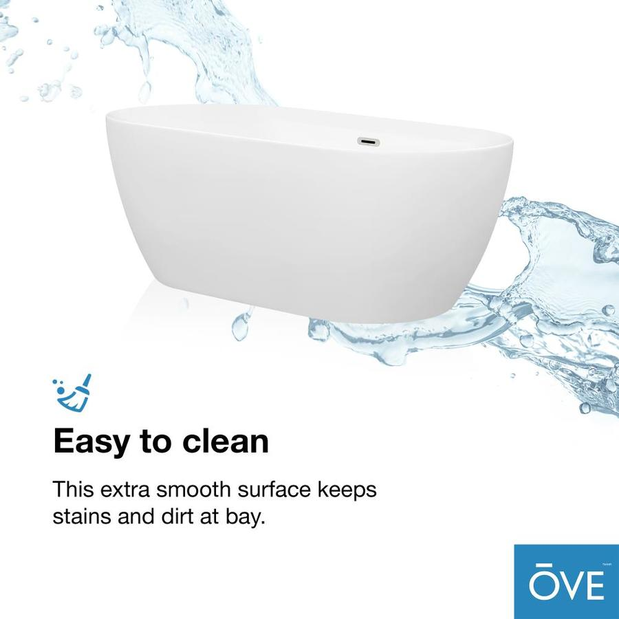 Ove Decors Ayago 28 35 In W X 59 In L Gloss White Acrylic Oval Back Center Drain Freestanding Soaking In The Bathtubs Department At Lowes Com