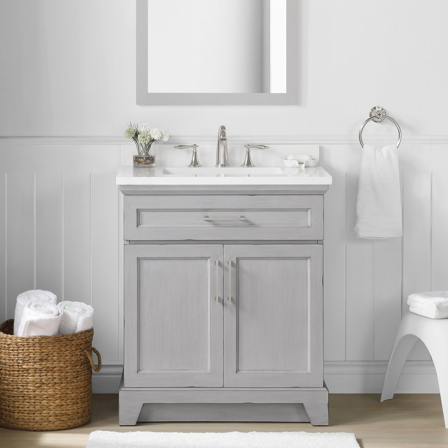 Allen Roth Felix 30 In Vintage Gray Undermount Single Sink Bathroom Vanity With White Engineered Stone Top In The Bathroom Vanities With Tops Department At Lowes Com