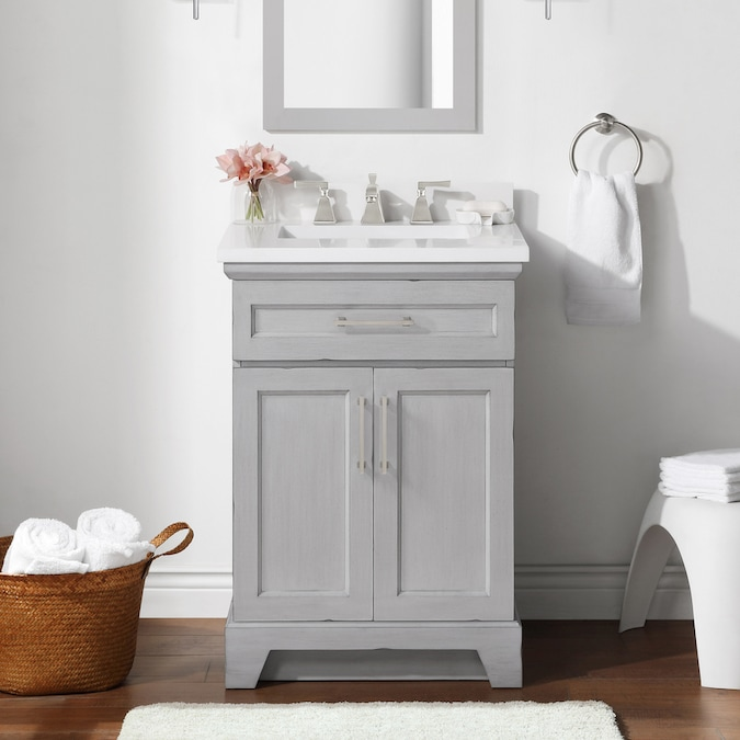 allen + roth Felix 24-in Vintage Gray Single Sink Bathroom ...