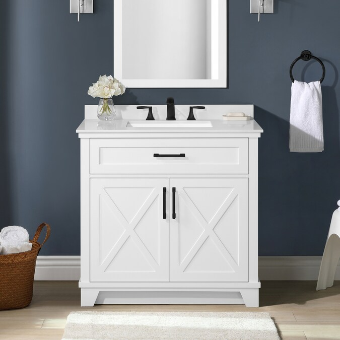 Allen Roth Oliver 36 In White Undermount Single Sink Bathroom Vanity With White Engineered Stone Top In The Bathroom Vanities With Tops Department At Lowes Com