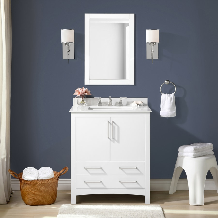 Allen Roth 30 In White Undermount Single Sink Bathroom Vanity With White Engineered Stone Top Mirror Included In The Bathroom Vanities With Tops Department At Lowes Com