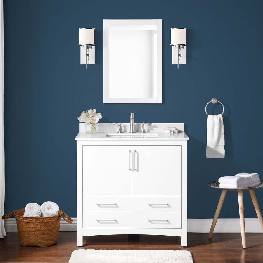 Allen Roth 36 In White Single Sink Bathroom Vanity With White Engineered Stone Top In The Bathroom Vanities With Tops Department At Lowes Com