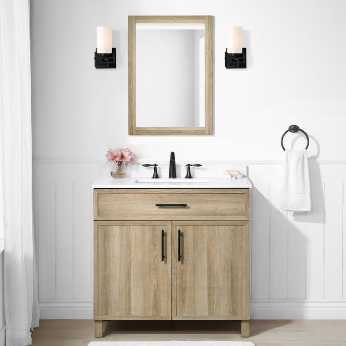 Style Selections Dolton 36 In Natural Oak Undermount Single Sink Bathroom Vanity With White Engineered Stone Top Mirror Included In The Bathroom Vanities With Tops Department At Lowes Com