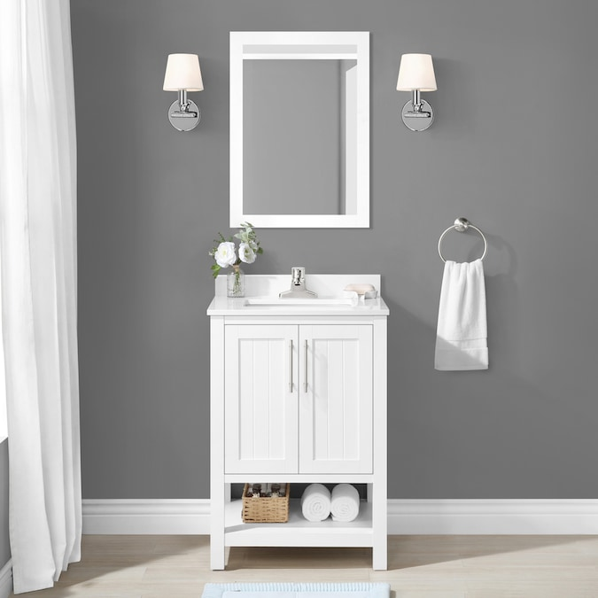 Style Selections 24 In White Single Sink Bathroom Vanity With White Engineered Stone Top Mirror Included In The Bathroom Vanities With Tops Department At Lowes Com