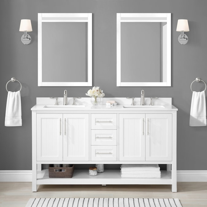 Style Selections Ss 60in Mercer Wh Shlf Vnty Combo In The Bathroom Vanities With Tops Department At Lowes Com