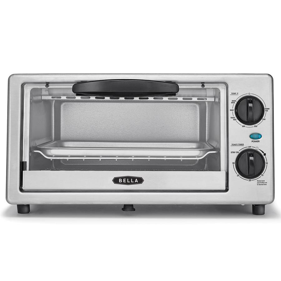 BELLA 4 Slice Stainless Steel Toaster Oven With Auto Shut Off