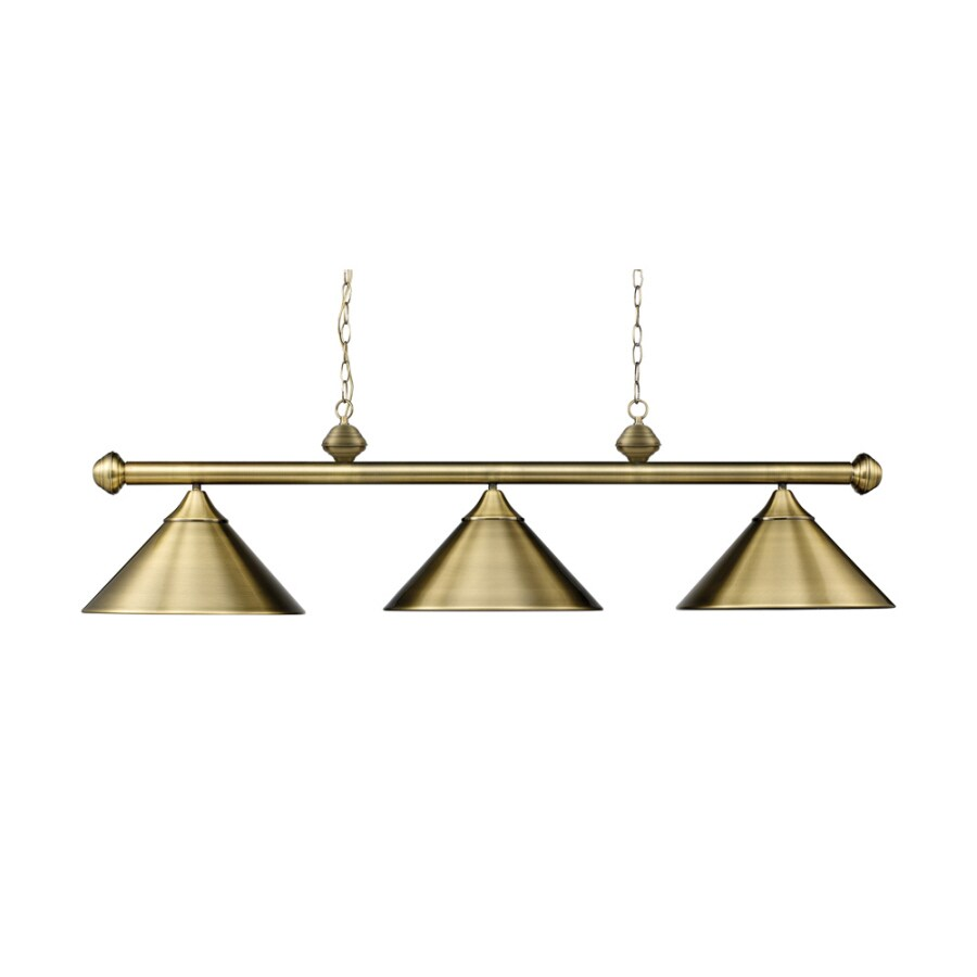 Westmore Lighting 51-in W 3-Light Antique Brass Kitchen Island Light with Shade
