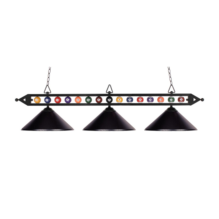 Westmore Lighting 58-in W 3-Light Matte Black Kitchen Island Light with Shade