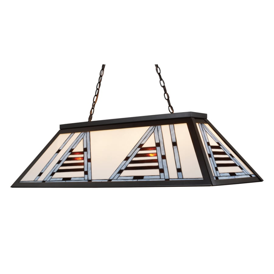 Westmore Lighting 44-in W 4-Light Bronze Kitchen Island Light with Tiffany-Style Shade