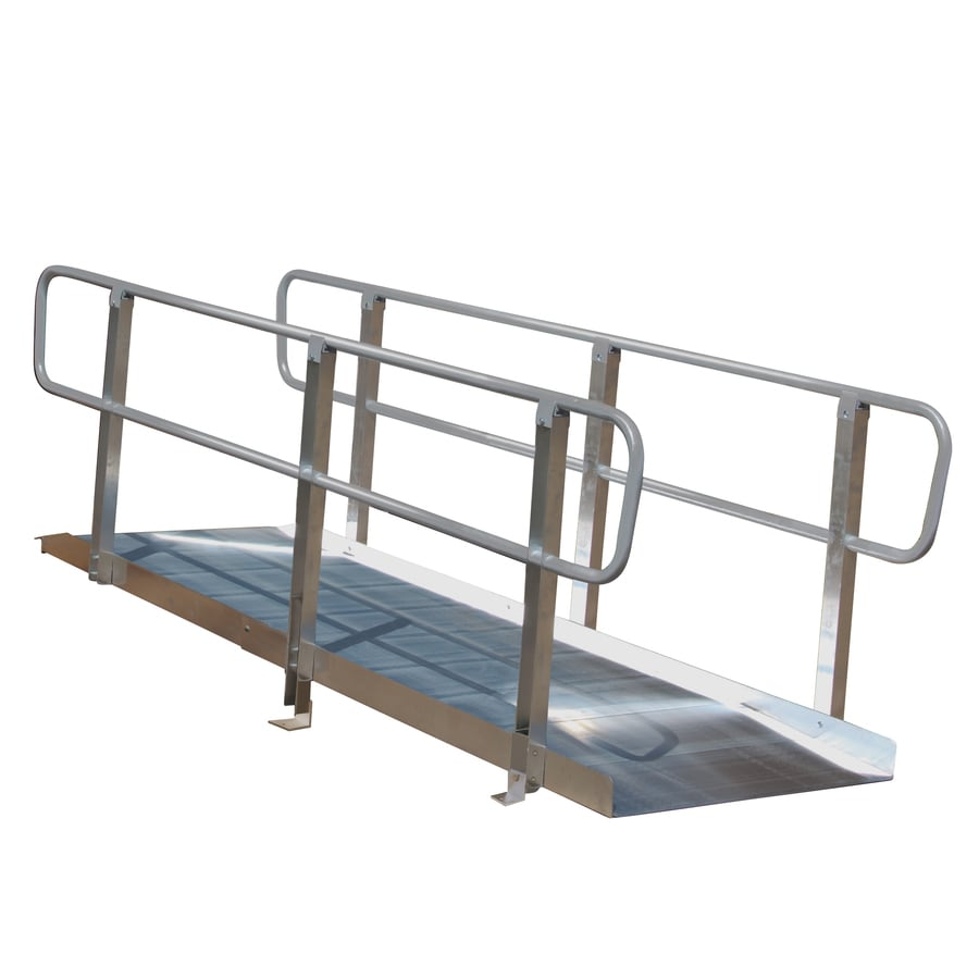 Prairie View Industries 8-ft x 36-in Aluminum Solid Entryway Wheelchair Ramp