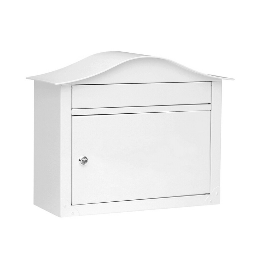 Architectural Mailboxes Lunada 16.5-in x 13.5-in Metal White Lockable Wall Mount Mailbox