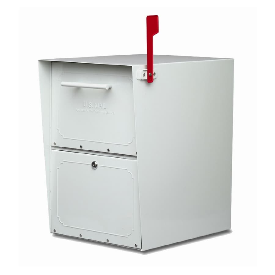Architectural Mailboxes Oasis 13.5-in x 20-in Metal Pearl Gray Lockable Post Mount Mailbox