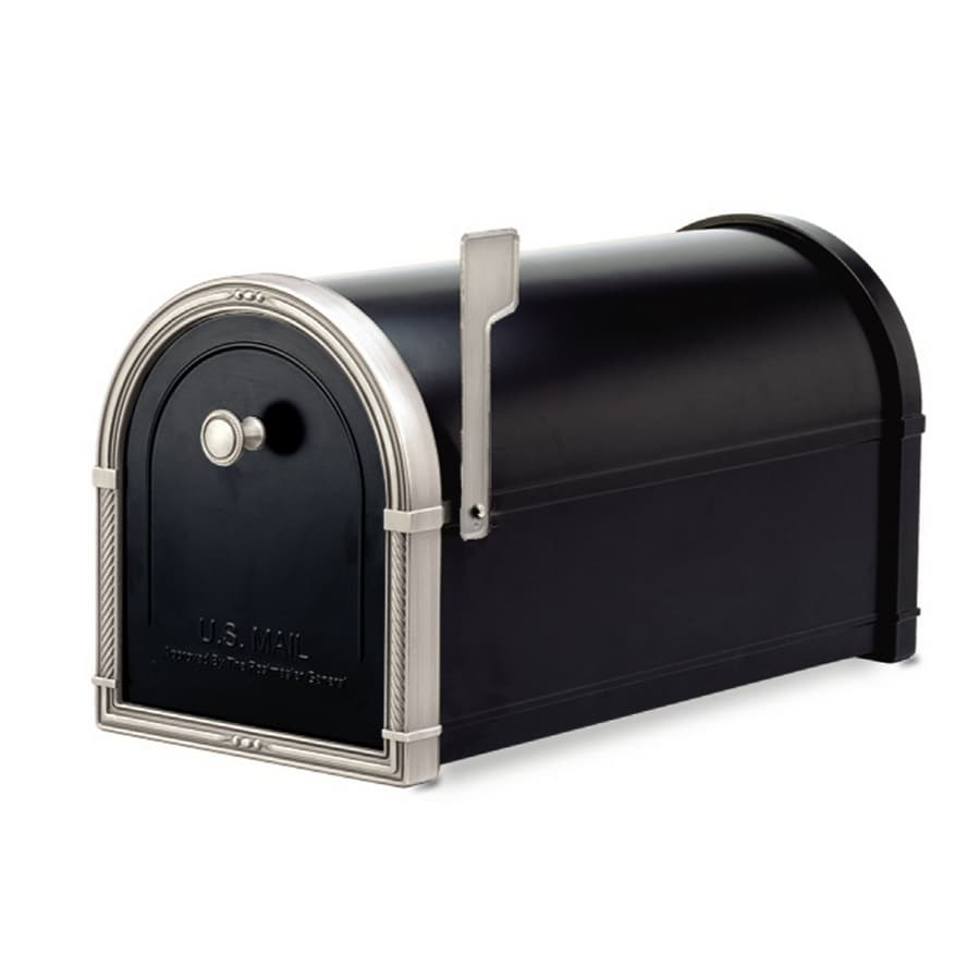 Architectural Mailboxes Coronado 10-in x 11.25-in Metal Black with Antique Nickel Post Mount Mailbox