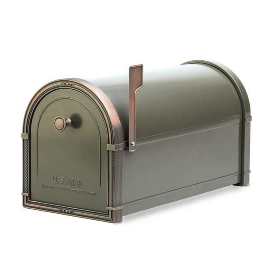 Architectural Mailboxes Coronado 10-in x 11.25-in Metal Bronze with Antique Copper Post Mount Mailbox