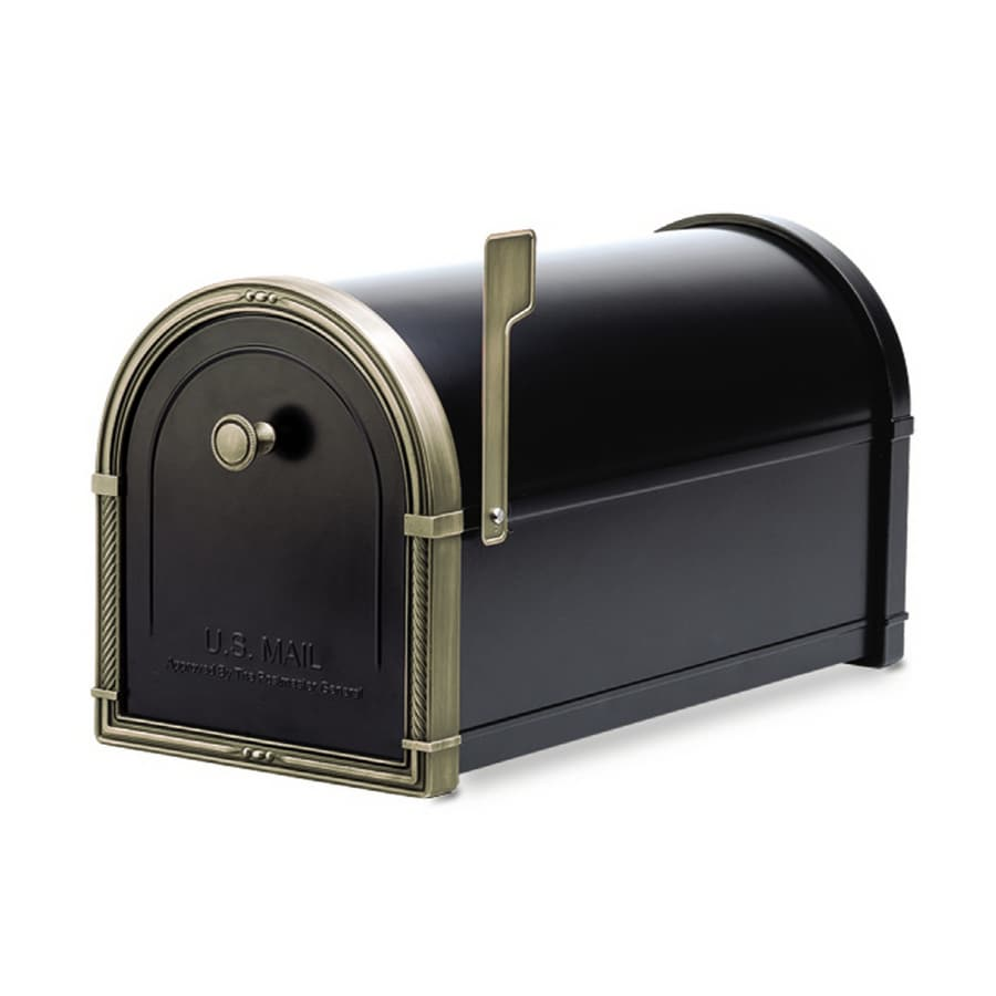 Architectural Mailboxes Coronado 10-in x 11.25-in Metal Black Post Mount Mailbox