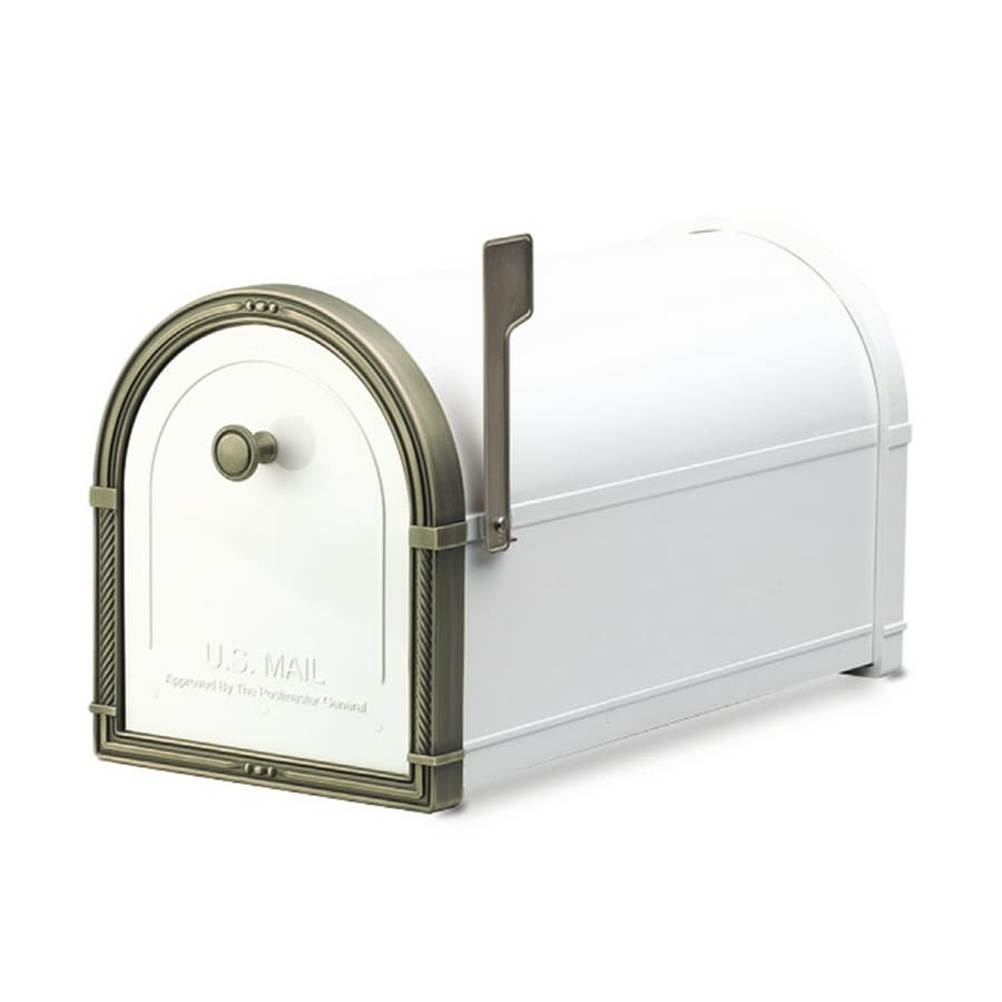 Architectural Mailboxes Coronado 10-in x 11.25-in Metal White Post Mount Mailbox
