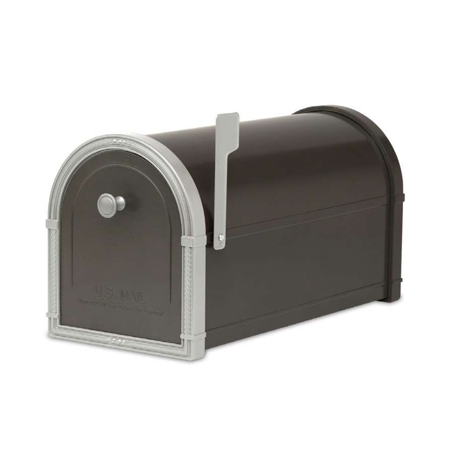 Architectural Mailboxes Bellevue 10-in x 11.25-in Metal Black Post Mount Mailbox