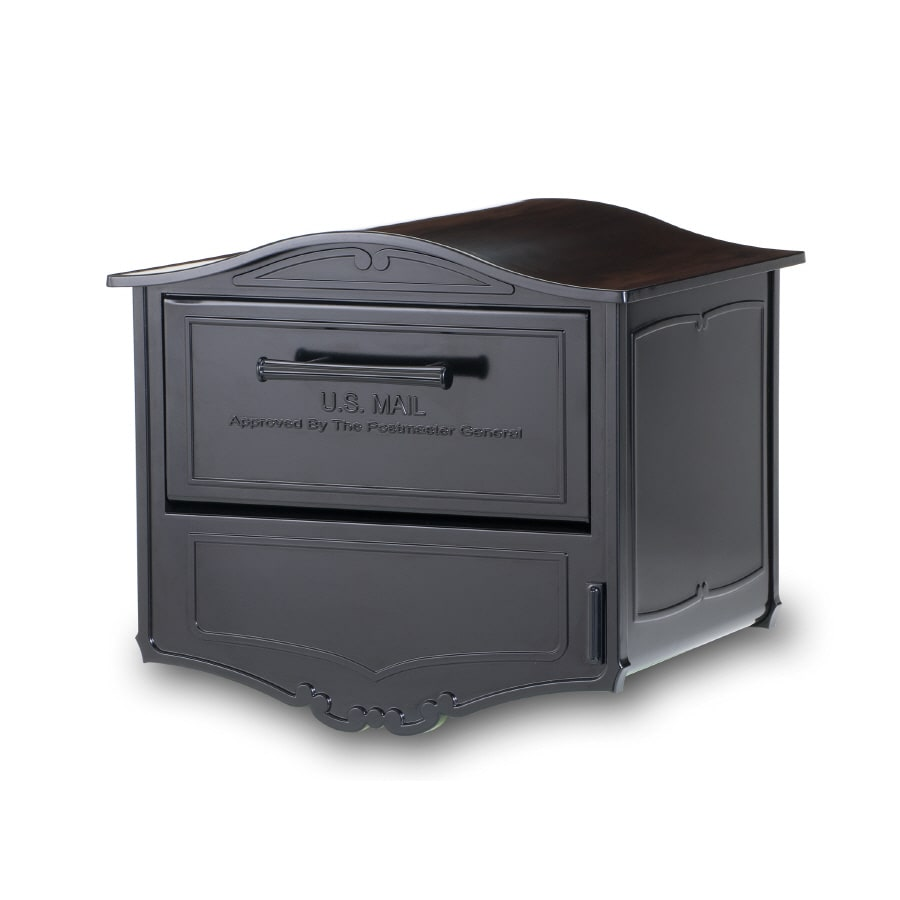 Architectural Mailboxes Geneva 16.6-in x 14.8-in Metal Black Lockable Post Mount Mailbox