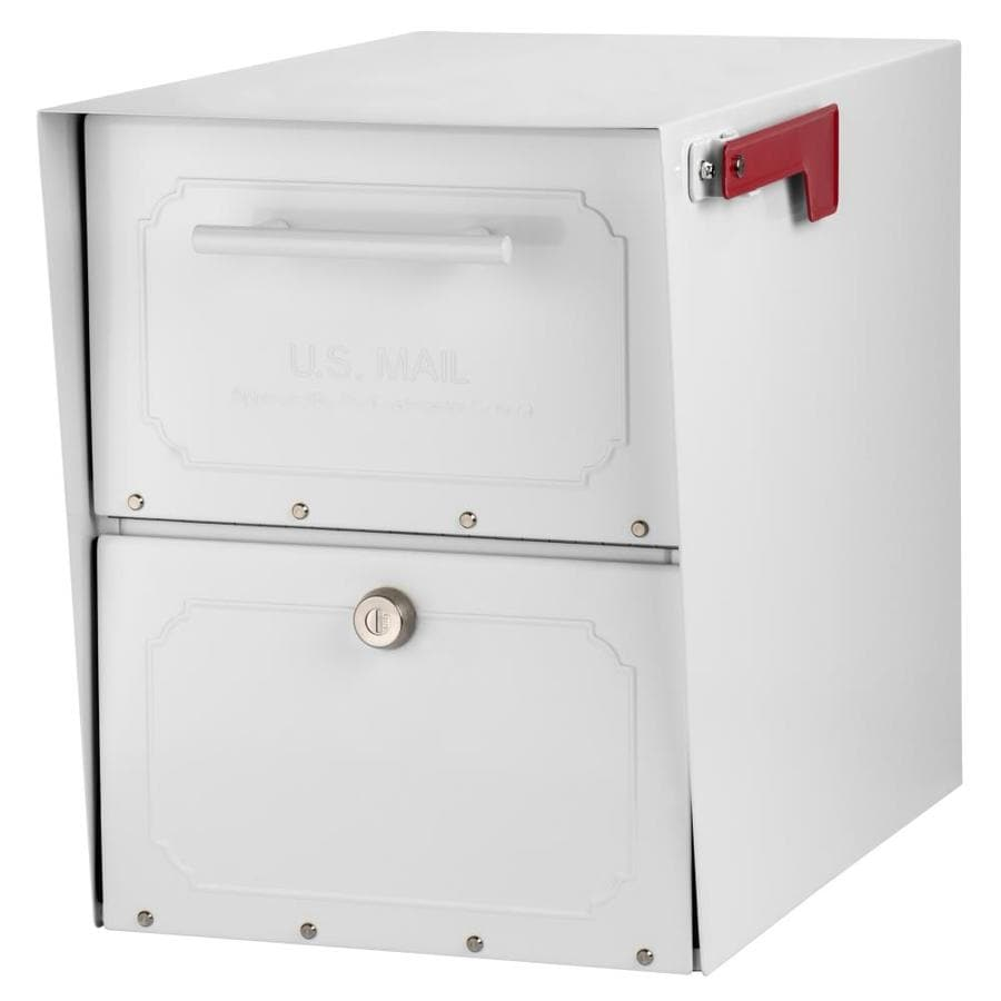 Architectural Mailboxes Oasis Jr 12-in x 15-in Metal White Lockable Post Mount Mailbox