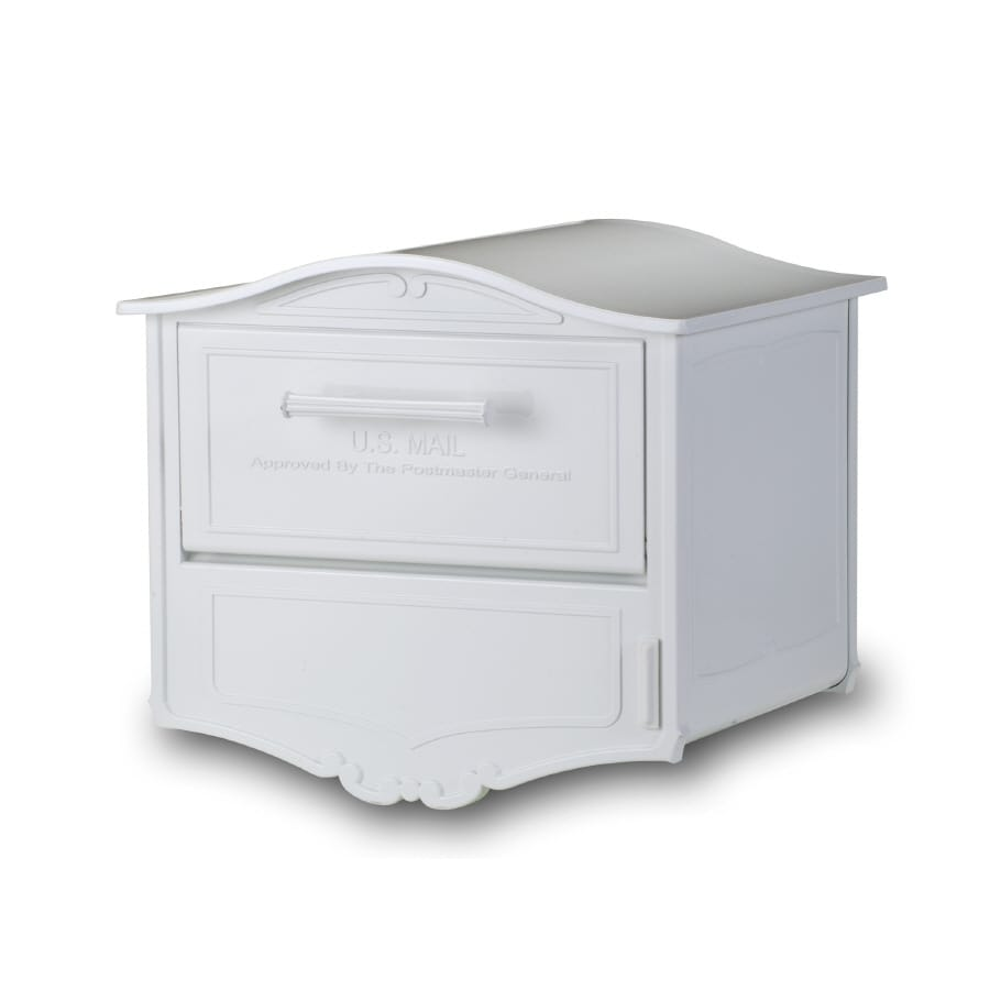 Architectural Mailboxes Geneva 16.5-in x 15-in Metal White Lockable Post Mount Mailbox