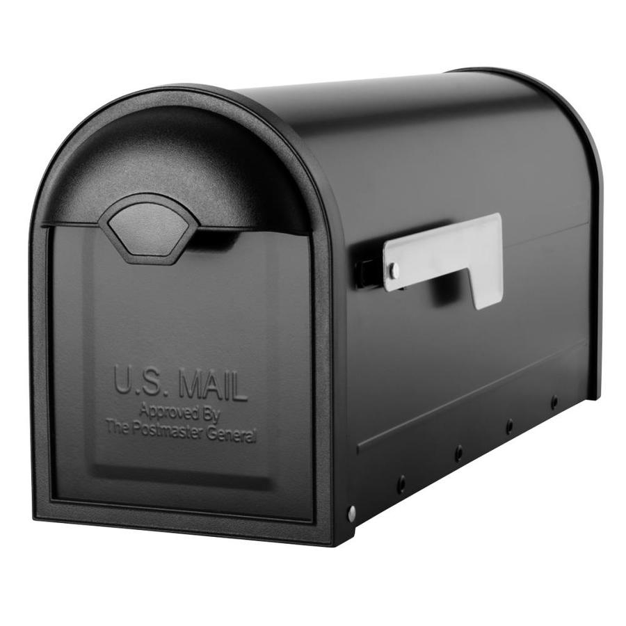 Architectural Mailboxes Winston 6.8-in x 8.9-in Metal Black Post Mount Mailbox