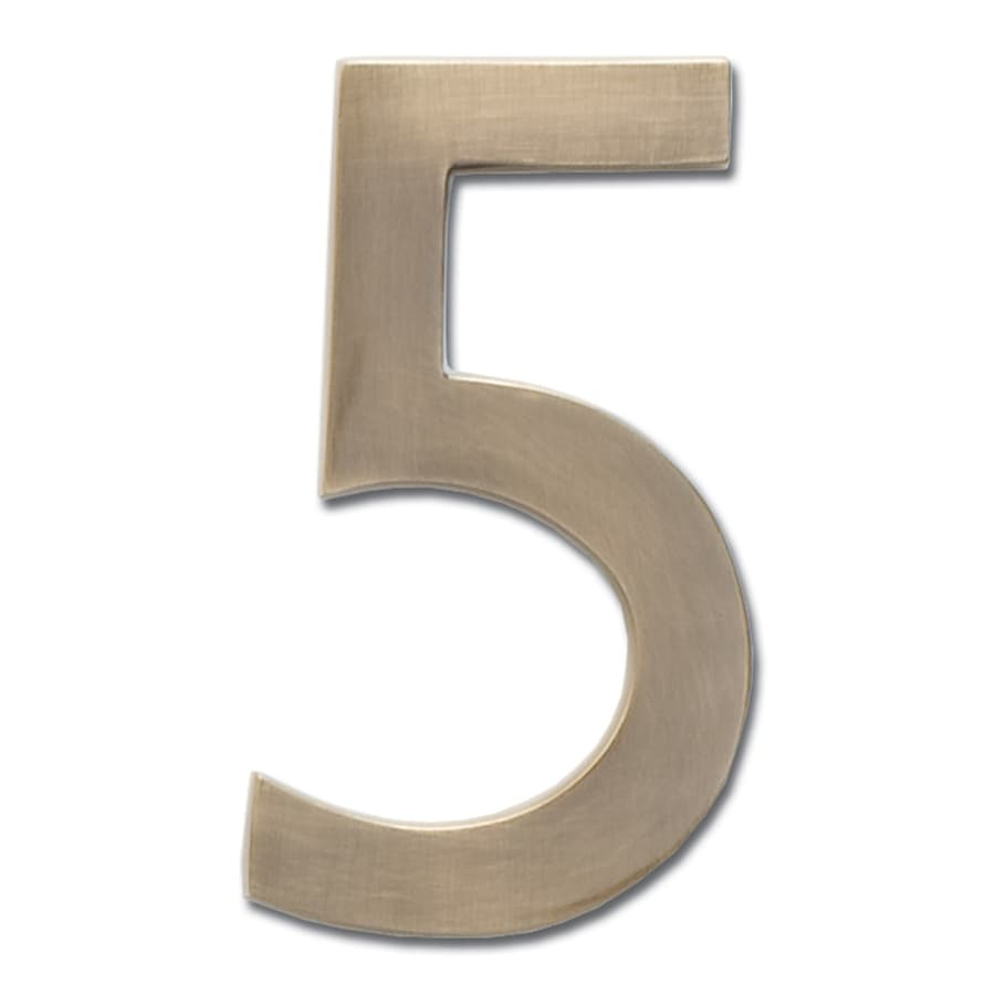 Architectural Mailboxes 5-in Antique Brass House Number 5