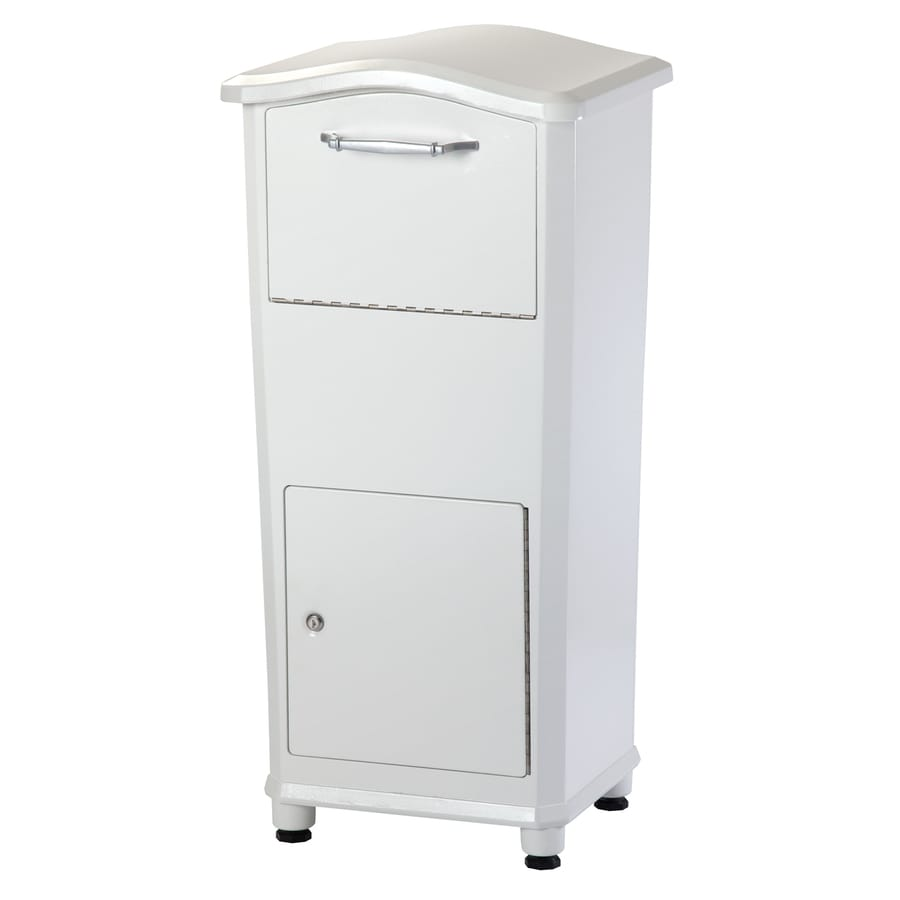 Architectural Mailboxes Elephantrunk 17.8-in W x 37.2-in H Metal White Lockable Ground Mount Mailbox