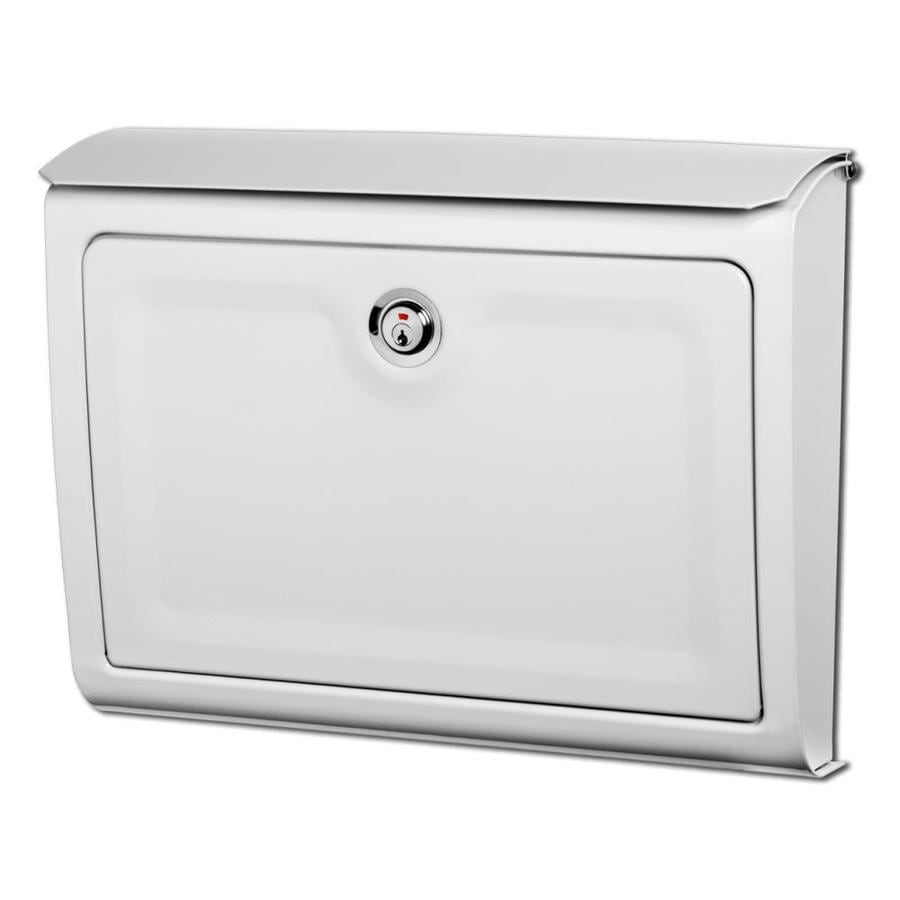 mailboxes whitman 14in x 107in metal white lockable wall mount mailbox - Wall Mount Mailboxes
