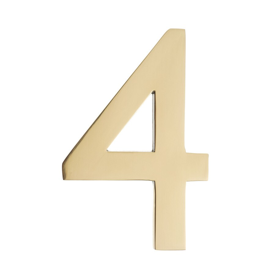 Architectural Mailboxes 4-in Polished Brass House Number 4