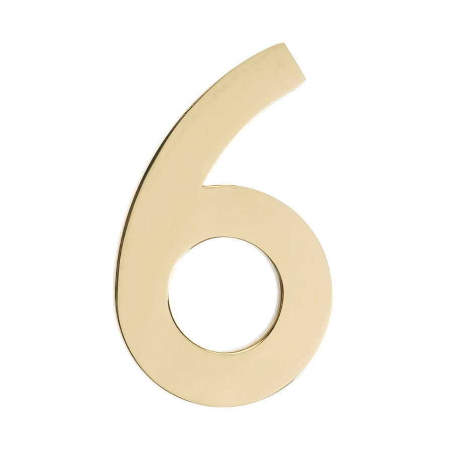 Architectural Mailboxes 4.1-in Polished Brass House Number 6