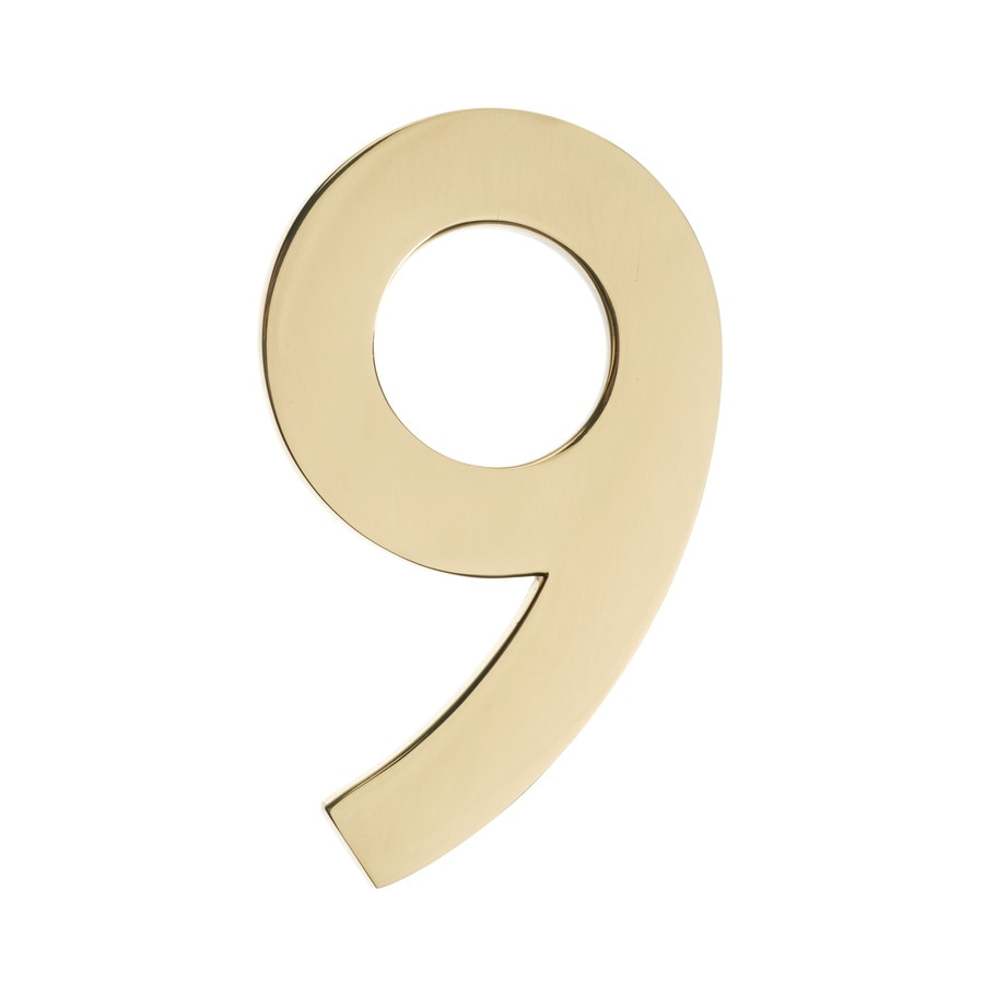 Architectural Mailboxes 4.1-in Polished Brass House Number 9