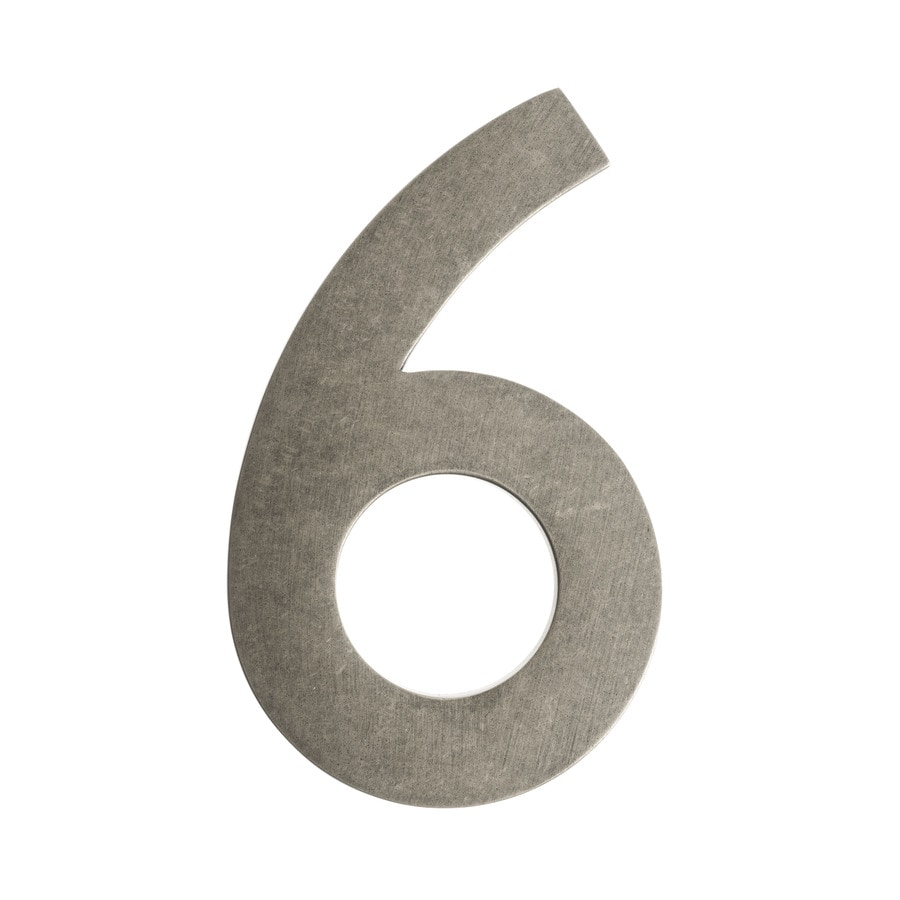 Architectural Mailboxes 5-in Distressed Antique Pewter House Number #6