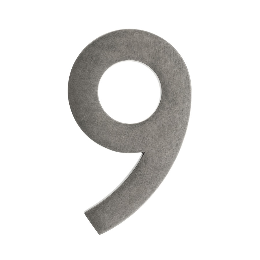 Architectural Mailboxes 5-in Distressed Antique Pewter House Number #9