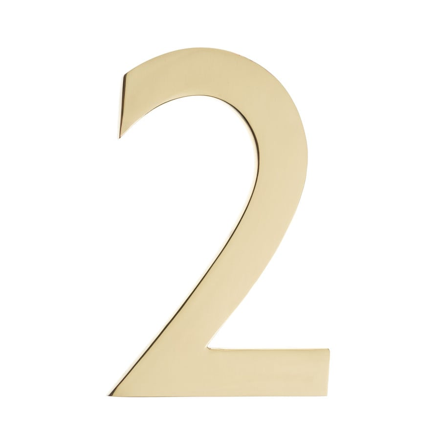 Architectural Mailboxes 5.1-in Polished Brass House Number 2