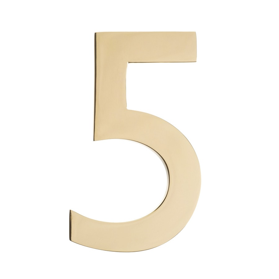 Architectural Mailboxes 5-in Polished Brass House Number 5