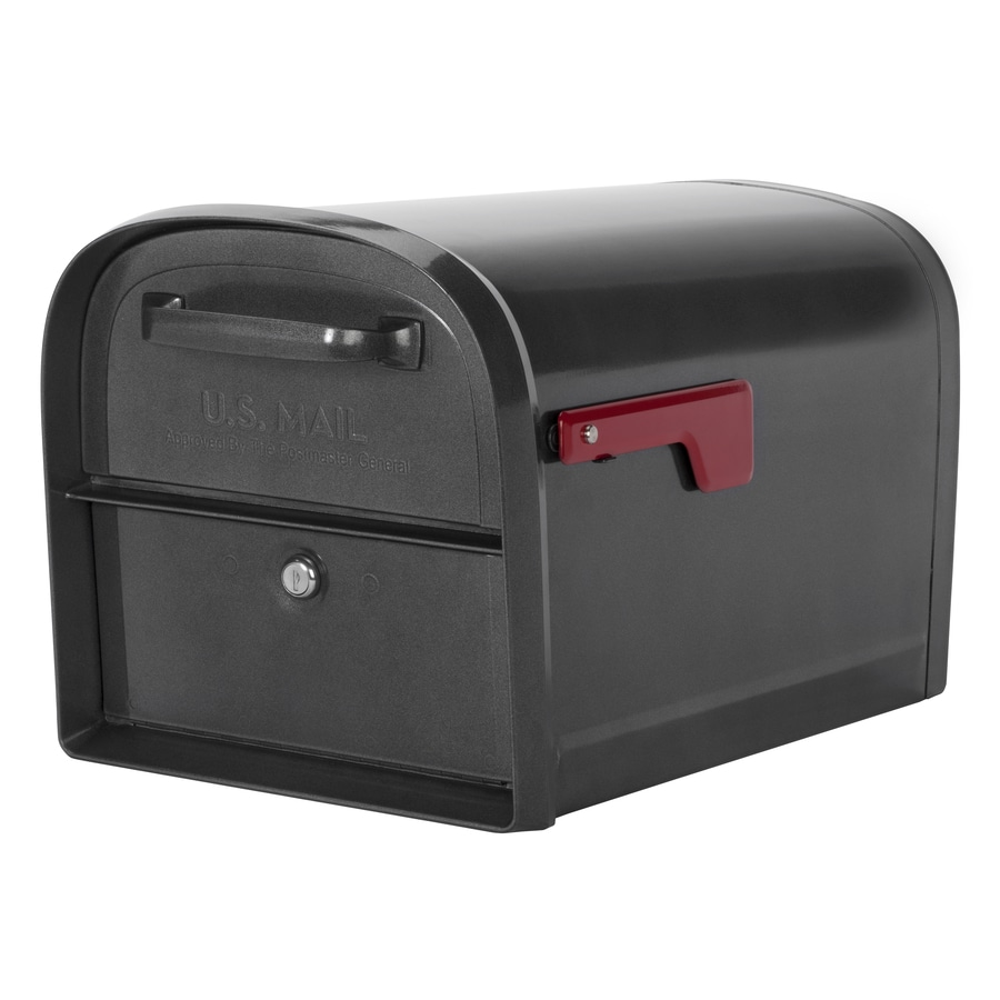 Architectural Mailboxes Oasis Locking Mailbox 11.2-in x 11.4-in Metal Pewter Lockable Post Mount Mailbox
