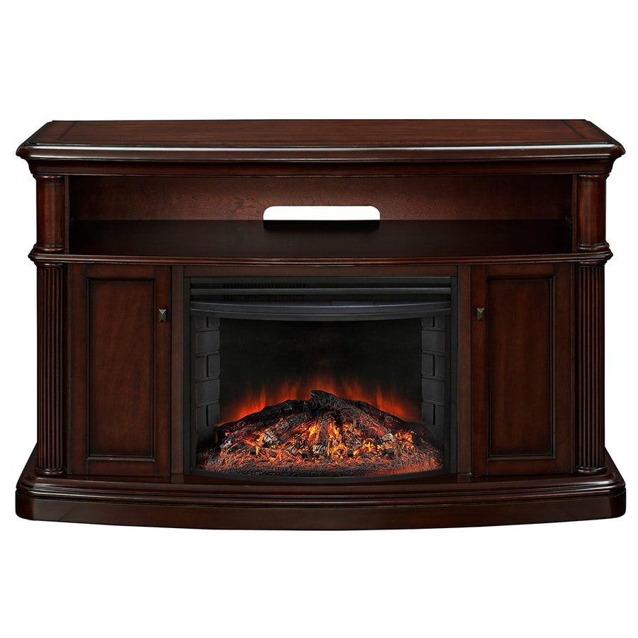 Shop Muskoka 56 1 In W 4 777 Btu Cherry Wood And Metal Fan Forced Electric Fireplace With