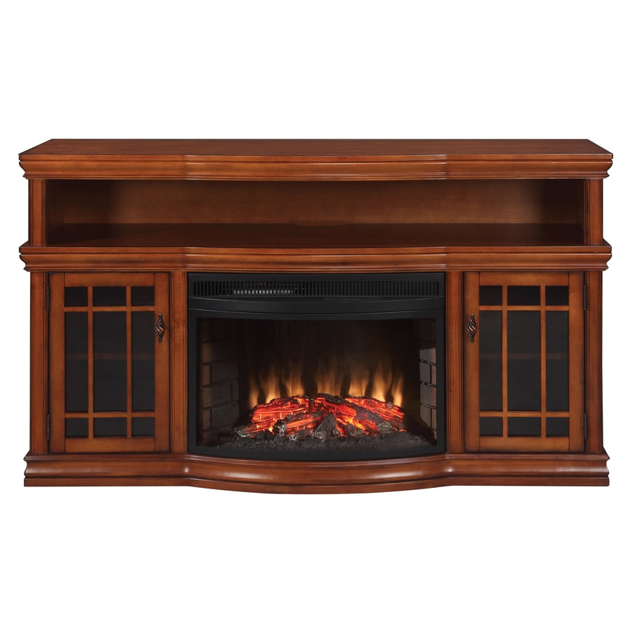 Shop allen + roth burnished pecan electric fireplace and media mantel at Lowes.com