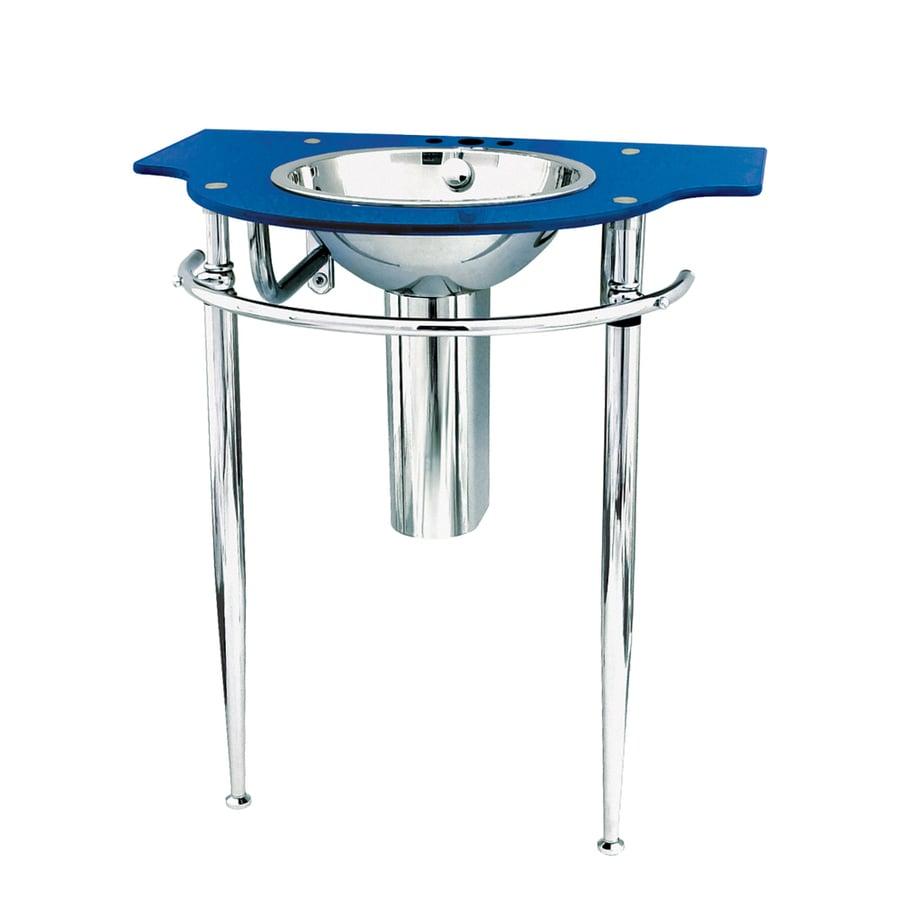DECOLAV Wall Mounts 32.5-in H Metallic Blue Glass Pedestal Sink