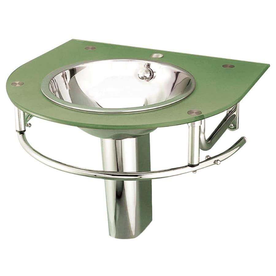 shop decolav green glass wall mount round bathroom sink at