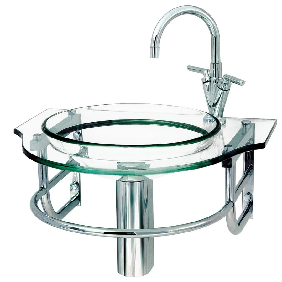 DECOLAV Transparent Natural Glass Wall Mount Round Bathroom Sink