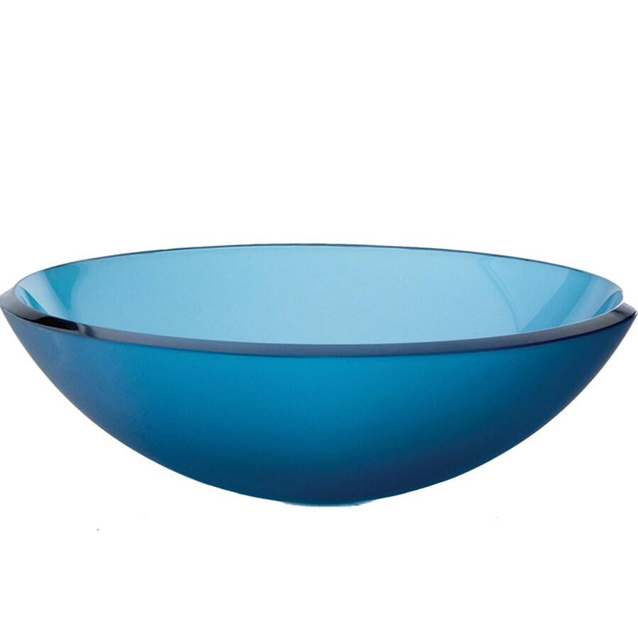 Shop DECOLAV Glass Frosted Blue Vessel Sink at Lowes.com