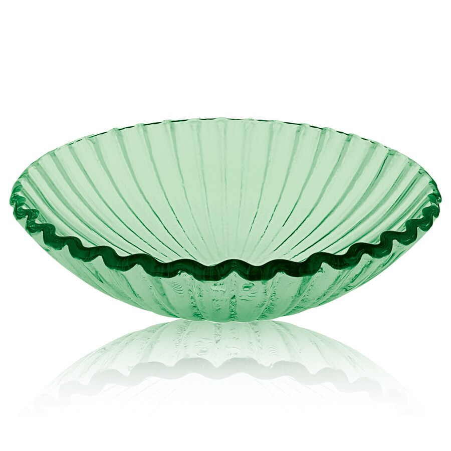 DECOLAV Translucence Green Glass Vessel Round Bathroom Sink