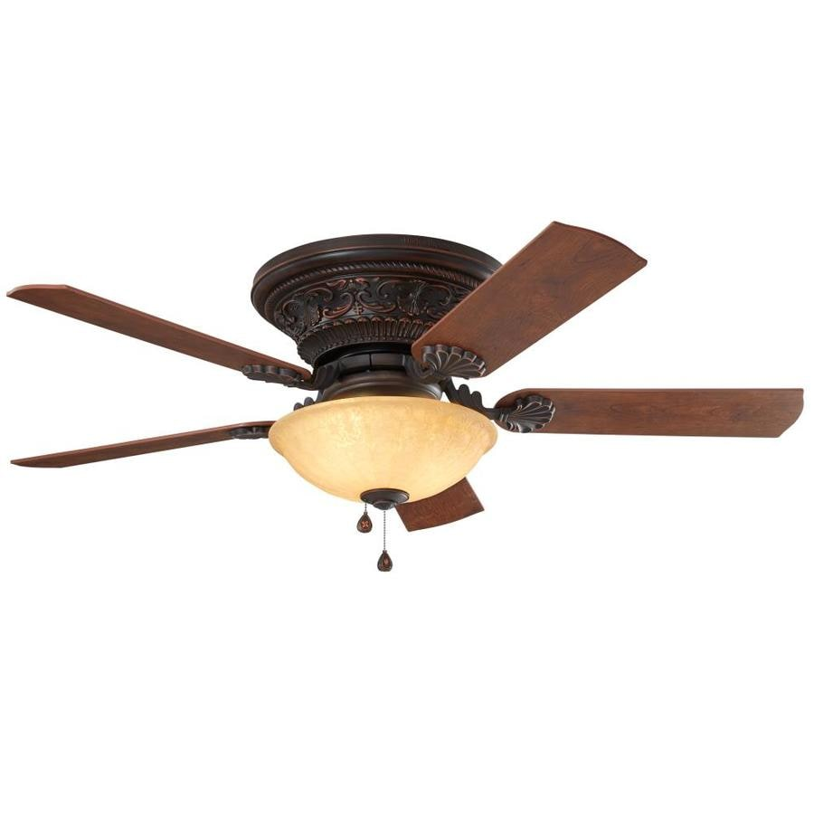 harbor breeze lynstead 52 in specialty bronze led indoor flush mount ceiling fan with light kit. Black Bedroom Furniture Sets. Home Design Ideas