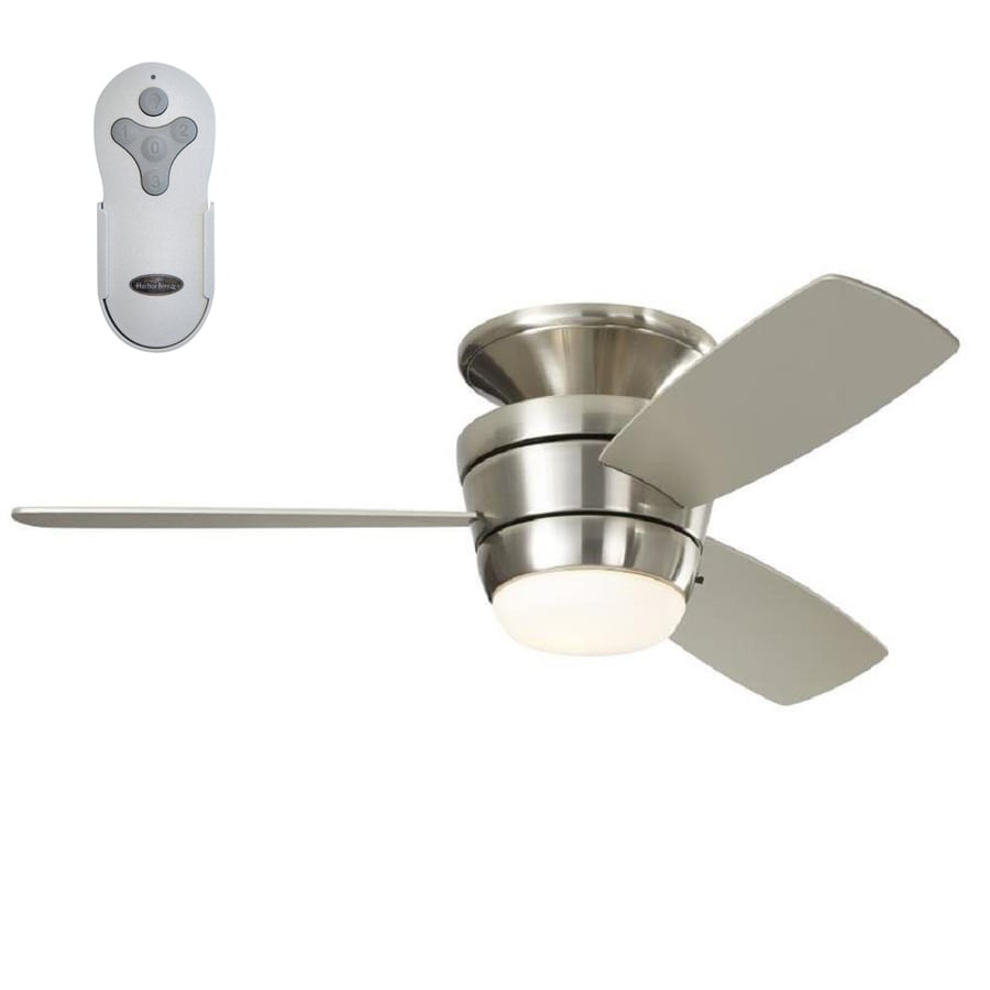 Shop ceiling fans at lowes harbor breeze mazon 44 in brush nickel led indoor flush mount ceiling fan with light publicscrutiny