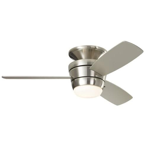 Harbor Breeze Mazon 44-in Brushed Nickel Indoor Flush Mount Ceiling Fan with Light Kit and Remote (3-Blade)