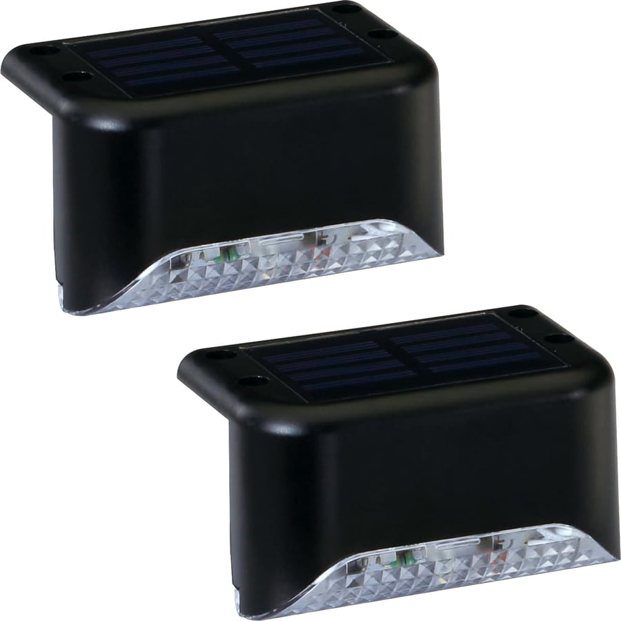 Portfolio 2X 2-Light Black Solar LED Railing Light Kit