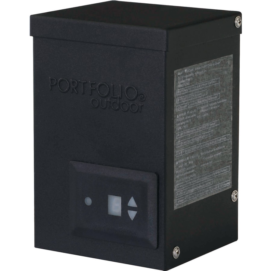 Portfolio 200-Watt 12-Volt Multi-Tap Landscape Lighting Transformer with Digital Timer and Dusk-to-Dawn Sensor