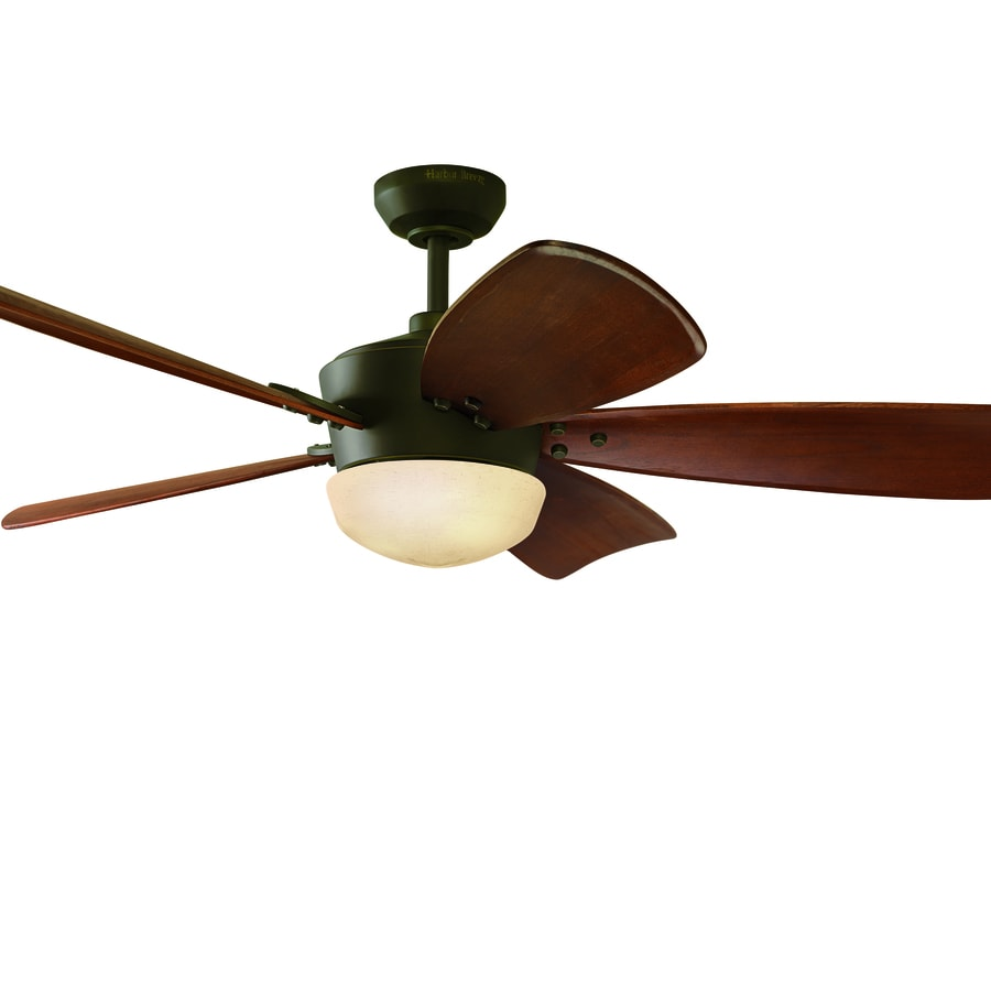 ... Bronze Downrod Mount Indoor Ceiling Fan with Light Kit and Remote