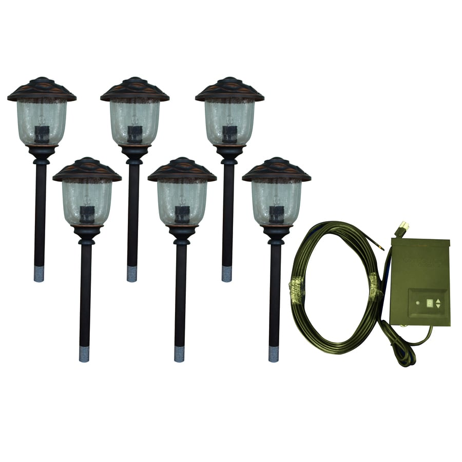 Shop portfolio 6 path light oil rubbed bronze low voltage for Low voltage walkway lighting sets